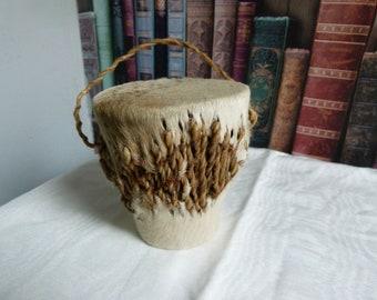 Vintage handmade tribal drum with rattle
