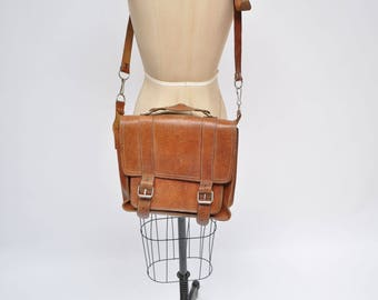 vintage leather satchel bag briefcase tote messenger bag personal tablet
