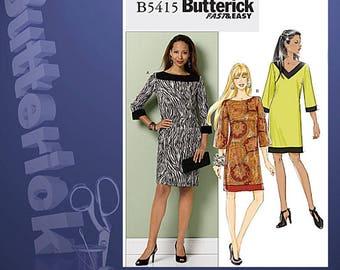 Fast & Easy Shift Dress Sewing Pattern Butterick 5415 OOP Sewing Pattern Size 4-14 Uncut