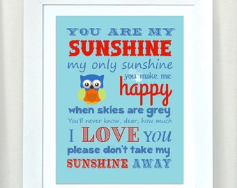 Baby Boy Nursery Art - You are My Sunshine Prints for Nursery or Kids Room,  Baby Nursery Decor,