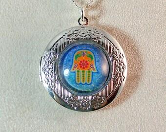 Picture Locket - Multi-Colored Hamsa