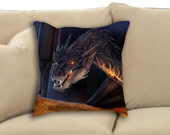 Le Dragon Smaug de Hobbit «Vous avez les bonnes manières pour un voleur» Fan Art jet ou un oreiller Rectangle