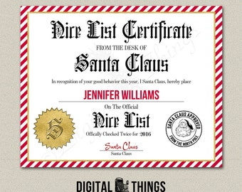Faux Gold Foil Editable Printable Santas Nice List Certificate Christmas Printable Santa Letter Stocking Stuffer Instant Download DT1918