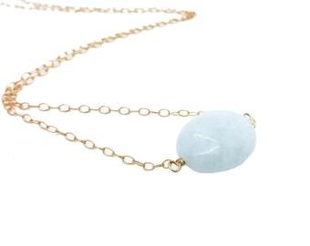 Aquamarine Necklace, Aquamarine Pendant Necklace, Milky Aquamarine Necklace, March Birthstone, Everyday Necklace, Bridesmaid Gift