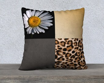 Daisy and Leopard Print Throw pillow Cover, Modern Abstract Ombre Flower and Animal Print Patchwork Cushion Cover, Country Chic Home Decor