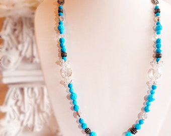 Long Turquoise Necklace - Beaded Necklace - Layering Necklace - RICHMOND Turquoise