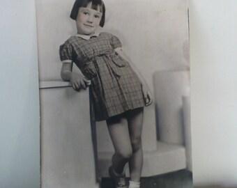 1939 Portrait Photograph Pixie Hair Girl Tinted