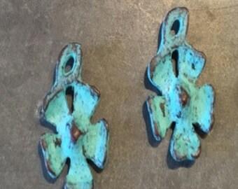 Copper Patina Flower Pendants