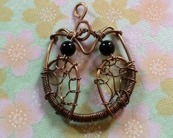 Copper Owl Pendant for Necklace
