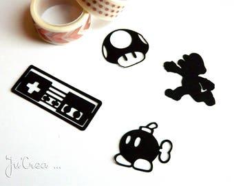 Tags x 4 black Nintendo video games