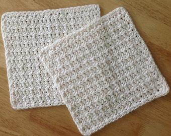 Soft Ecru Cotton Dishcloth