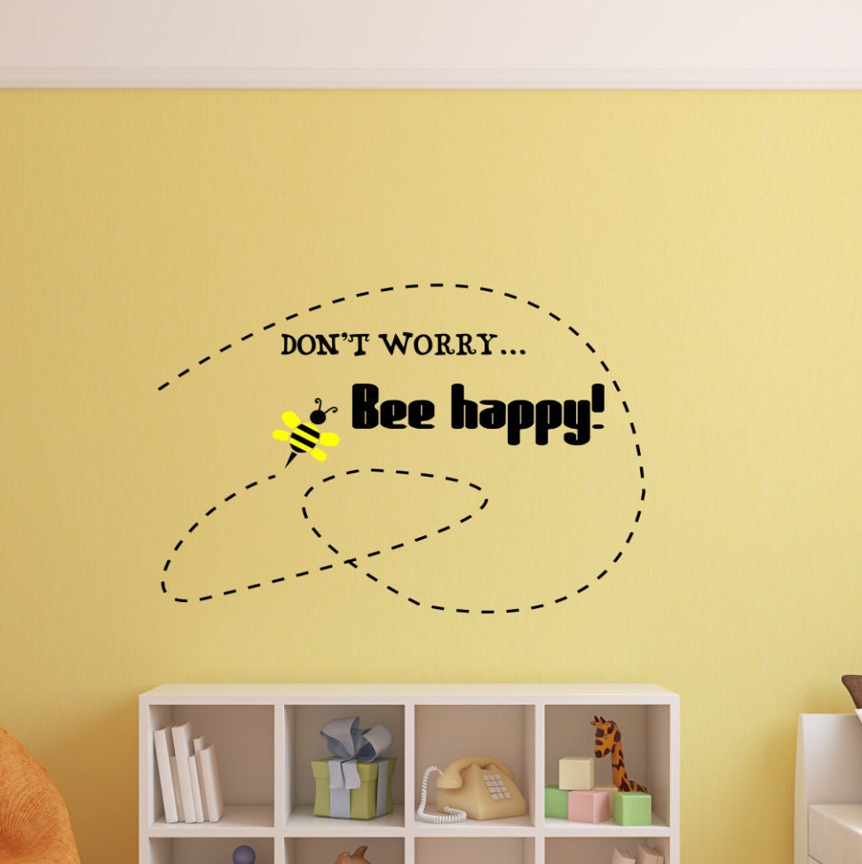 Bee happy wall art, Dont worry be happy, bee happy sign, bee wall ...