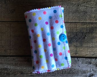 Crayon and sketch pad holder, Great travel or just a day out - rainbow dots