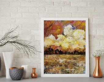 Autumn Landscape, Colorful Clouds, Sunrise, Texture, Original Painting, Landscape Painting, Home Decor, Office Art, Gift, Winjimir, Fine Art