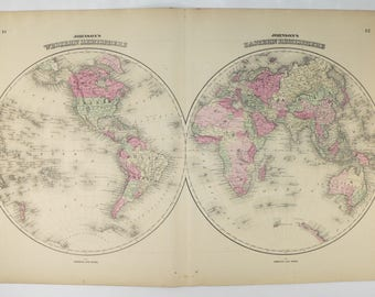 Old world map eastern hemisphere western hemisphere map 1858 1864 johnson world map antique map of the world eastern hemisphere map western gumiabroncs Image collections