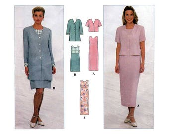 Women's Sleeveless Dress and Unlined Jacket Sewing Pattern Plus Size 20-22-24 Bust 42-44-46 Uncut Simplicity 7965