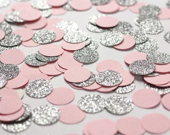 Pink and Silver Glitter Dot Confetti - Pink and Gray Baby Shower- Silver and Pink Table Confetti