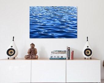 Water Wall Art-Metal Wall Art-Water Photography-Metal Photo Print-Royal Blue Wall Art-Fine Art Metal Decor-Horizontal-Abstract Photography