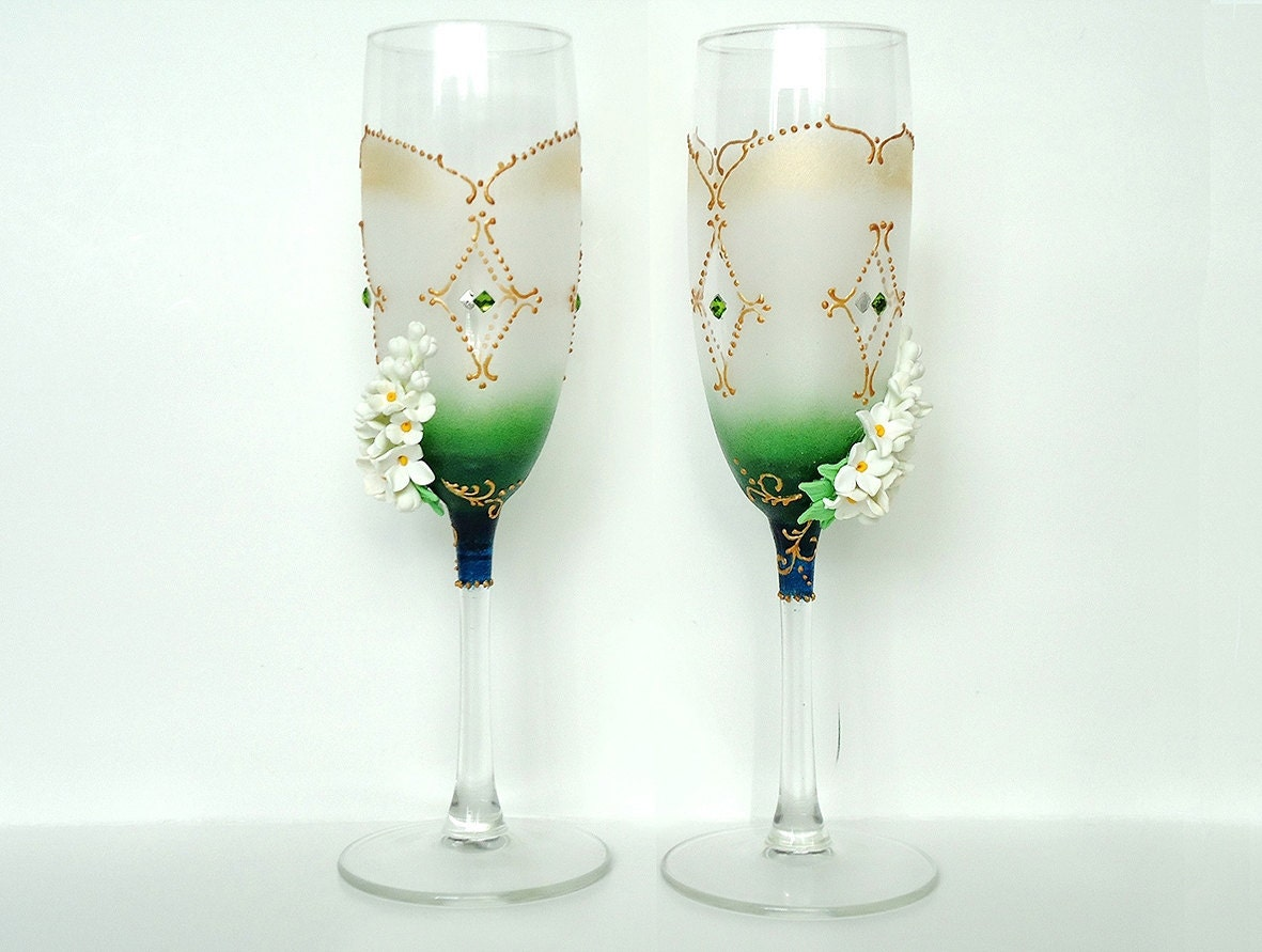 Spring Wedding Champagne Glasses Toasting Flutes white