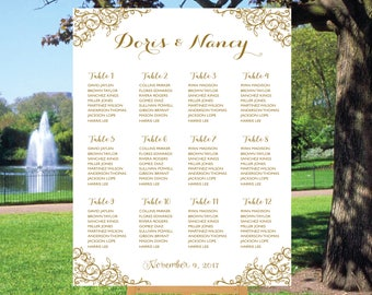 Wedding Seating Chart,Poster wedding, Seating Chart, Wedding Card, Wedding Table seating assignment, Gold table plans , Find Your Seat SC012