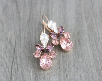 Crystal Bridal earrings, Rose gold earrings, Wedding jewelry, Blush crystal earrings, Swarovski earrings, Wedding earrings, Blush wedding