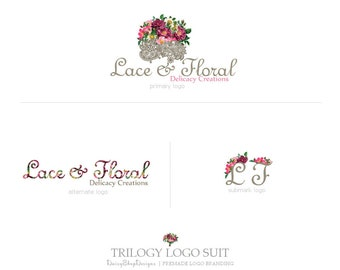Trilogy Logo Suit,Primary Logo,Secondary Logo,Sub Logo,Black & White Watermarks-Lace,Floral Bouquet-Plum,Dark Gray-Logo Branding Package