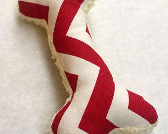 Squeaky Plush Dog Bone Toy, Red and White Chevron Print with Soft Fleece Backing
