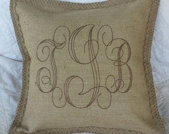 Custom Burlap Monogram Pillow - you chose the colors