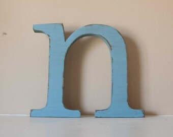 Baby Initial, Wood Letter, Baby Name, Wooden Nursery Letters, 10""