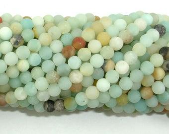 Matte Amazonite Beads, 4mm (4.3mm) Round Beads, 15 Inch, Full strand, Approx 95 beads, Full strand, Hole 0.7mm (111054033)