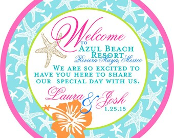 Beach Wedding Welcome Tags Hawaiian Flower Starfish Customizable