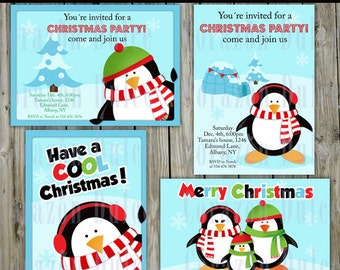 Christmas Penguins invitations PRINTABLE INVITATION