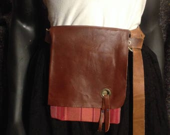 Medieval Inspired Belt Pouch Red Plaid/Brown Leather