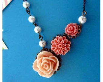 To be a star - pearls and rose and dhalia flowers connected necklace 17 inches