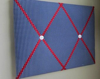"16""x20"" Memory Board Navy Blue & Red Gingham, Bow Board, Bow Holder, Photograph Holder, Ribbon Board, Memo Board, Vison Board, Organizer"
