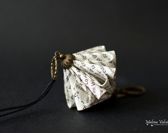 Book Paper Necklace - Paper Jewelry - Paper Art - Origami miniature sculpture