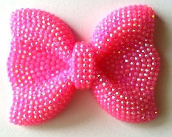 Bright Pink Rhinestone Bow Pendant- Large