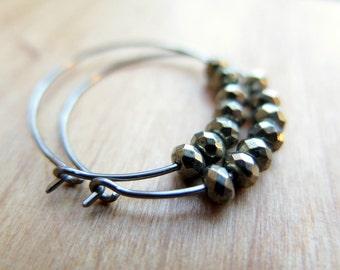Sample Sale. hypoallergenic jewelry. niobium hoops. pyrite earrings.
