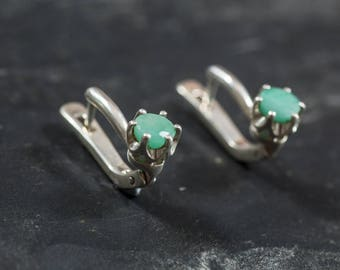 Emerald Earrings, Natural Emerald, May Birthstone, Genuine Emerald, May Earrings, Vintage Earrings, Silver Earrings, Emerald, Real Emerald
