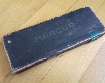 Vintage drafting compass set Mercur 851 in original box-60's