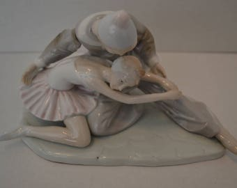"Paul Sebastian Clown and Ballerina Figurine, Porcelain, 8""W"
