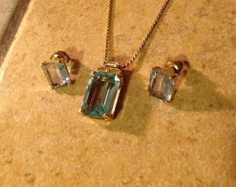 Aquamarine Goldtone Neckalce and Earring Set by Christian Dior