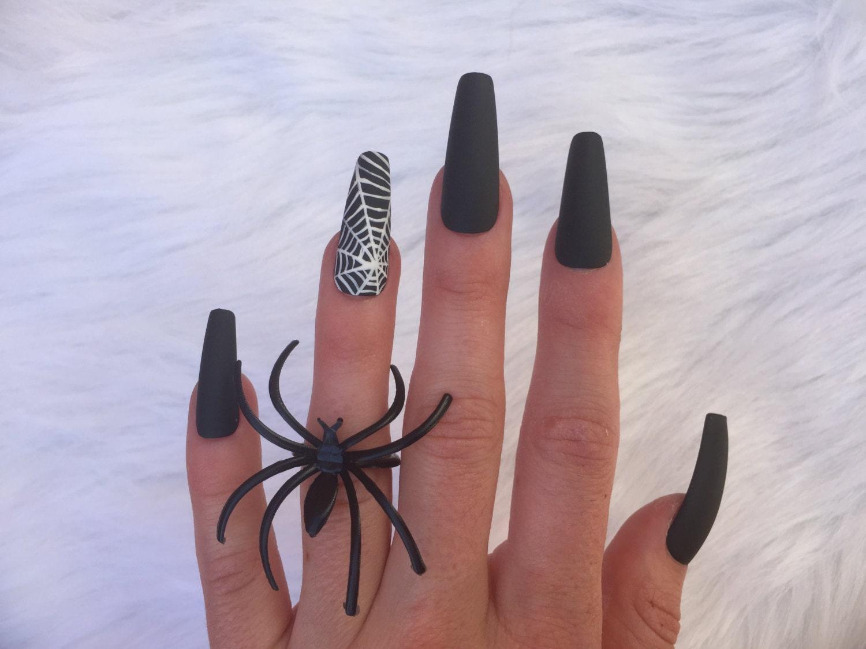 Widow Nailz set of 10 long spiderweb matte black coffin nails