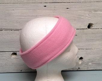 Light Pink Fleece ear warmer, fleece headband, winter wear, ski headband