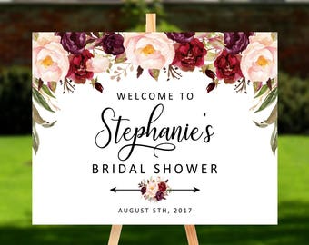 Welcome to Bridal Shower sign, Personalized Marsala Floral Baby Shower Sign, Printable Digital, Welcome to Wedding sign DIGITAL FILES, MA1