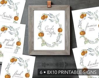 Fall BRIDAL SHOWER BUNDLE, Pumpkin Signs, Instant Download, Bridal Shower Signs, Printable, Bridal Shower Decor, Bachelorette Party, Rustic