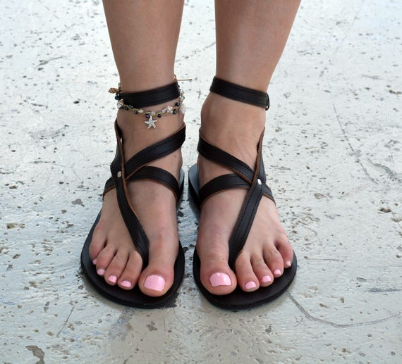 Greek Sandals Ankle Greek Sandals Leather Thong Strappy ''Nephele'' Strap Sandals YYwB0qr