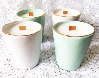 Gold Trimmed Green Tea & Bay Rum Soy Candle