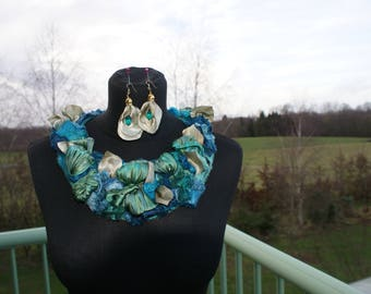 silk necklace and earrings