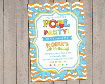Kids Pool Party Invitation / Pool Party Invitation / Pool Invitation / kids pool party / Pool birthday / Party Digital Printable DIY